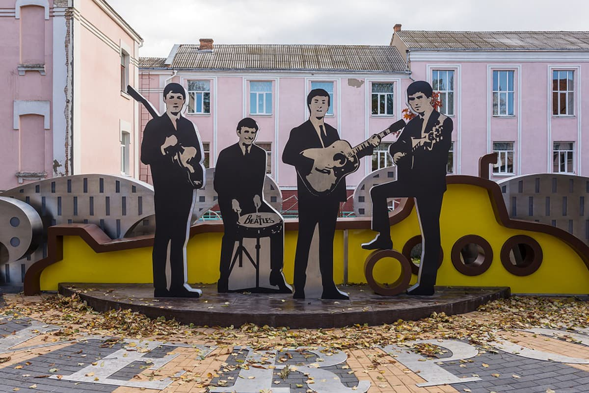 A monument of The Beatles. Pop culture of the twentieth century.