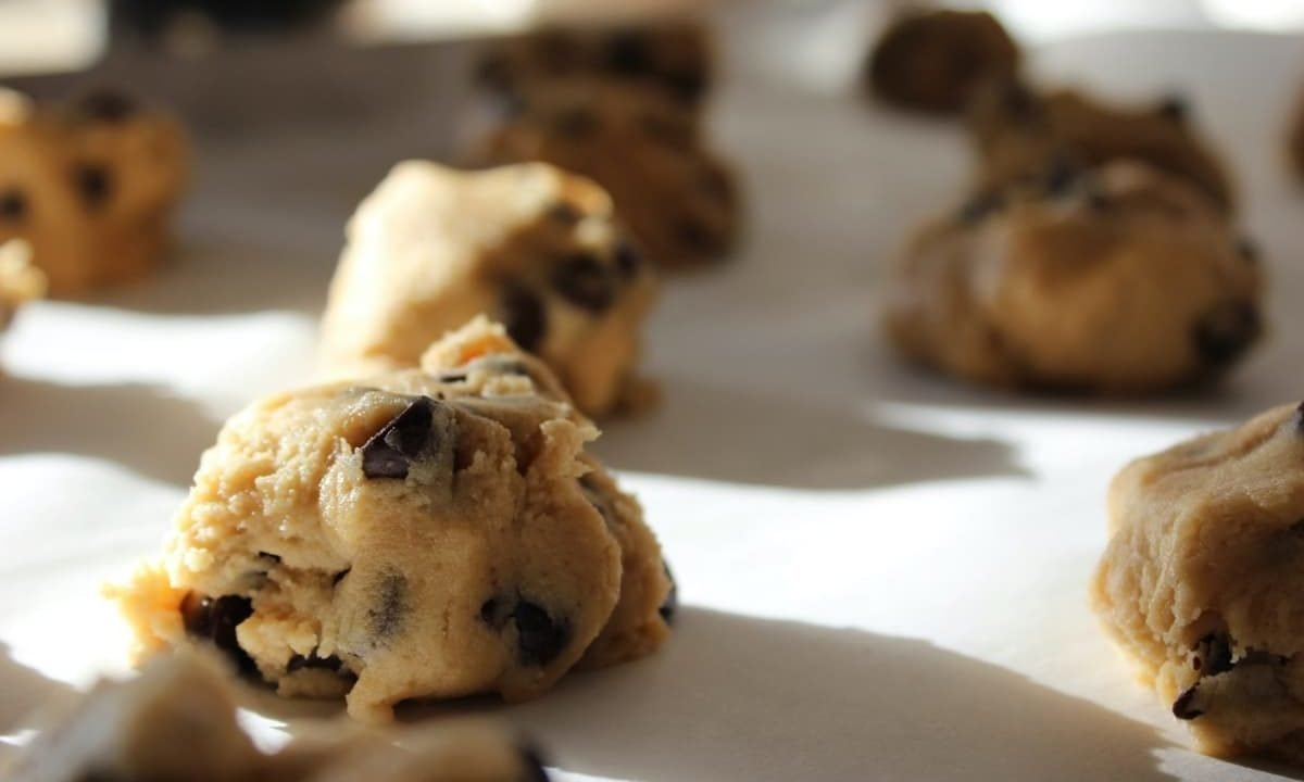 Cookie Dough On A Baking Tray
